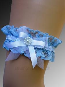 Strumpfband mit Schleife und Perlen - blau/weiss